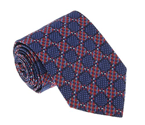 - Missoni U4510 Blue/Red Basketweave 100% Silk Tie for mens