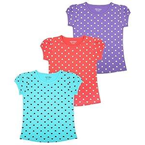 MINNOW Girls Heartin Printed Cotton Tshirt(Pack of 3)