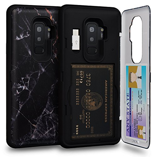TORU CX PRO Galaxy S9 Plus Wallet Case Pattern with Hidden Credit Card Holder ID Slot Hard Cover, Mirror & USB Adapter for Samsung Galaxy S9 Plus - Black Marble