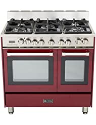 Verona VEFSGE365NDBU 36 Double Oven Dual Fuel Range with 5 Sealed Gas Burners 2.4 cu. ft. Oven Capacity Quiet Hinge Storage Drawer Electronic Ignition Digital Clock and Timer In