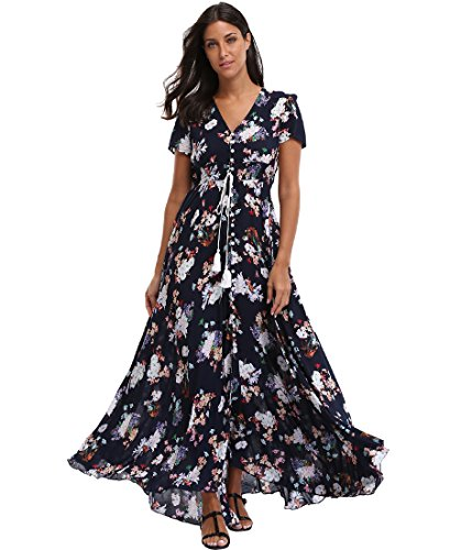 sandals BestWendding Summer Floral Maxi Dress Women Button up Split Flowy Long Swing Boho Beach Party Dresses