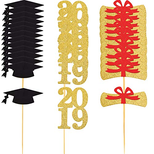TOODOO 72 Pieces Graduation Cupcake Toppers 2019 Graduation Party Decorations Cake Topper Picks, 3 Designs