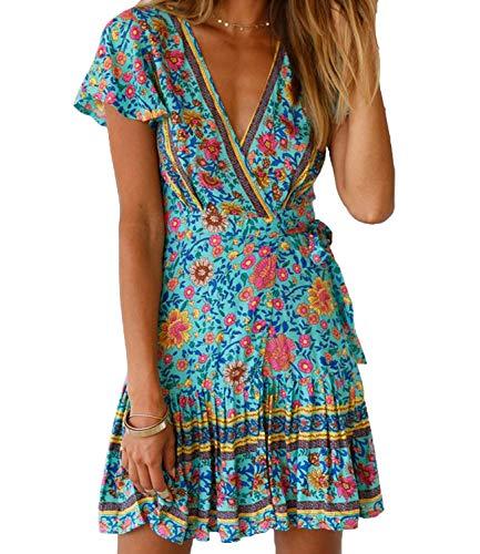 (Womens V Neck Bohemian Floral Vintage Printed Ethnic Style Ruffle Swing Hem Split Wrap A Line Beach Short Sleeves Mini Dress (US 12-14 (Tag L), Floral)