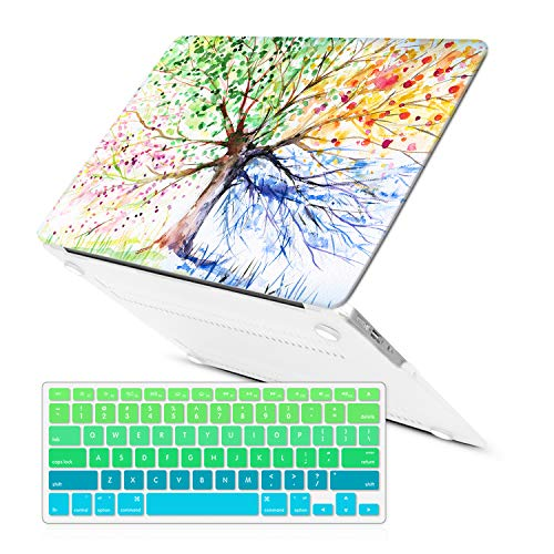 MacBook Air 13 Inch Case (Release 2010-2017 Older Version),iCasso Rubber Coated Soft Touch Hard Case with Keyboard Cover Only Compatible MacBook Air 13 Inch (Model:A1369/A1466), Four Seasons Tree