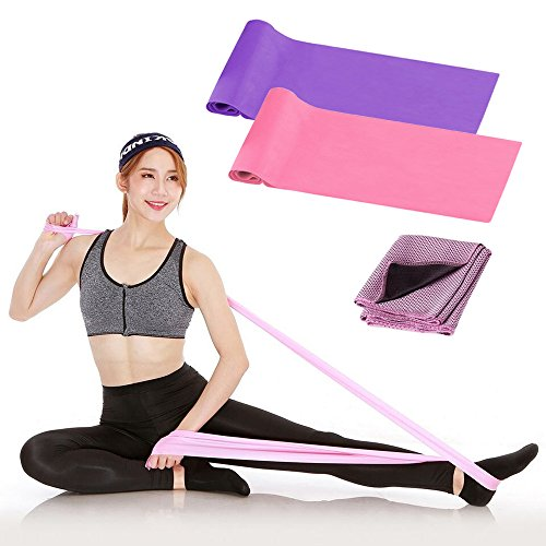 Duerger Exercise Bands, Non-Latex Resistance Bands Set of Two Elastic Strength Training Bands, One Cooling Towel, Free Home Gym Fitness Equipment for Physical Therapy, Pilates, Bodybuilding, Yoga