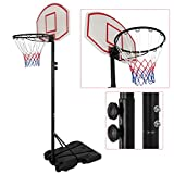 Smartxchoices Portable 82.28'' Basketball System Height-adjustable Steel Pole with Backboard and Wheels for Kids Teenagers Youth Indoor Outdoor