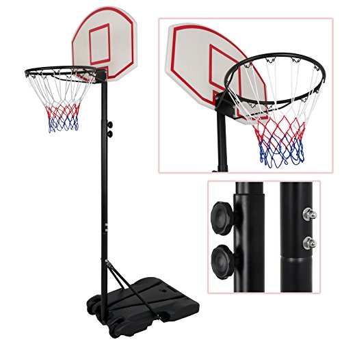 Smartxchoices Portable Height-Adjustable Basketball Hoop Stand Goal System Steel Pole with Backboard and Wheels for Kids Teenagers Youth Indoor Outdoor -