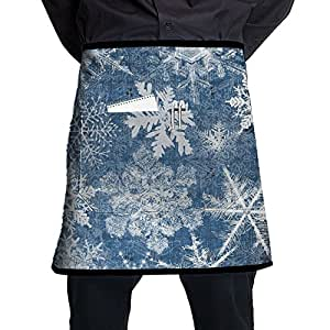 Pocket Waist Apron For Men & Women, Snowflake Half Bistro Server Apron With 2 Pockets For Chef, Baker, Servers, Waitress, Waiter