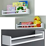Set of 3 White Baby Nursery Room Wall Shelf Wood 17.5 Inch Ships Fully Assembled …