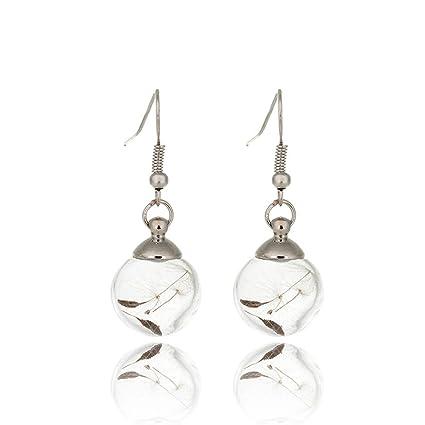 9de21fc1eeac9 MUZHE Transparent Luminous Bulb Feathers Dandelion Leaves Dangle Earring  for Women Girls