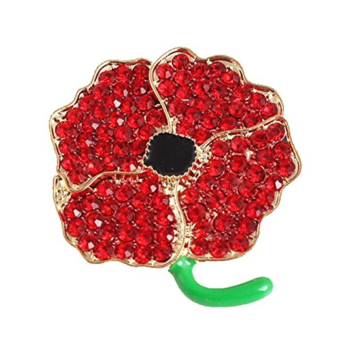 Red Poppy Brooch Pin Badge Glitter Soldier Enamel Lapel Plating Pin Gift Remembrance Day Diamond Four Petals Flowers