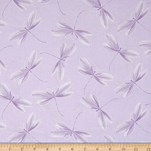 Benartex 0567539 Kanvas Essence of Pearl Dragonfly Silhouette Lilac Metallic Silver Fabric by The Yard, ()