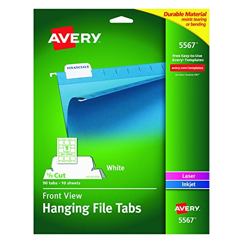 Avery Plastic File Folder (Avery Self-Adhesive Printable Hanging File Tabs, Laser/Inkjet, 1/5 Cut, White, Pack of 90  (5567))