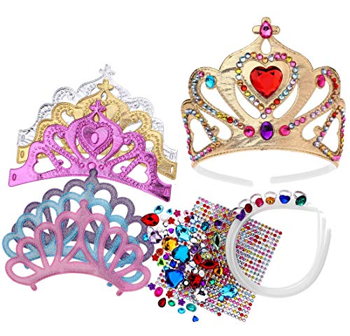 Foam Princess Tiaras and Crowns, Making Your Own Tiaras with Rhinestone stickers, Princess Party Favors for Kids (pack of 6) (Princess Supplies Crown)