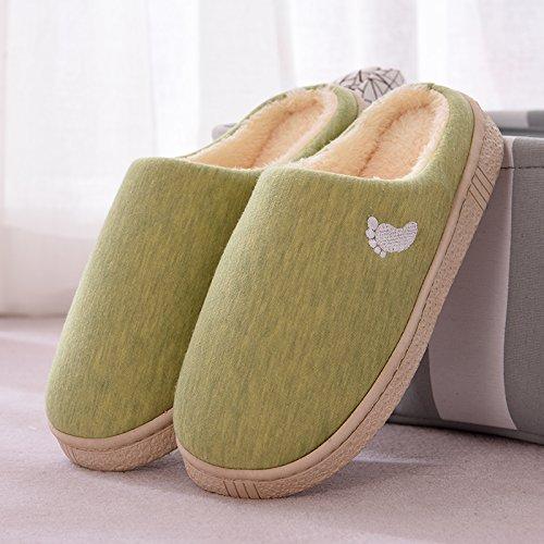 Inverno fankou paio di pantofole di cotone femmina spessa coperta calda antiscivolo home soggiorno pantofole uomini e ,35-36, cocomero rosso
