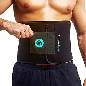 """ActiveGear Waist Trimmer Belt for Stomach and Back Lumbar Support, Medium: 8"""" x 42"""" - Blue"""