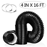 4 Inch 16FT Air Duct,Insulation Aluminum Clothing Dryer Hose,Black PVC Lightproof Vent Hose for Fan Filter and Grow Tent, 2 Clamps Include