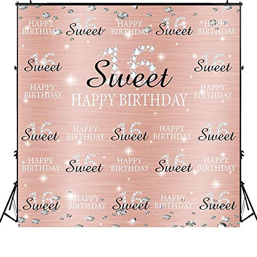 Funnytree 6x6ft Pink Sweet 16th Birthday Photography Backdrop Princess Girl Step and Repeat Silver Glitter Shiny Background Sixteen Years Old Age Party Decoration Banner Photo Studio Booth Props -