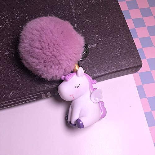 4.5 Shuda 1 Pcs Porte-cl/és Keychain Creative Hairball Licorne Style Pendentif Porte Clef Pompom T/él/éphone Sac D/école Sac /À Main D/écoration pour Hommes Femme Enfants 2.7 D 4.2cm