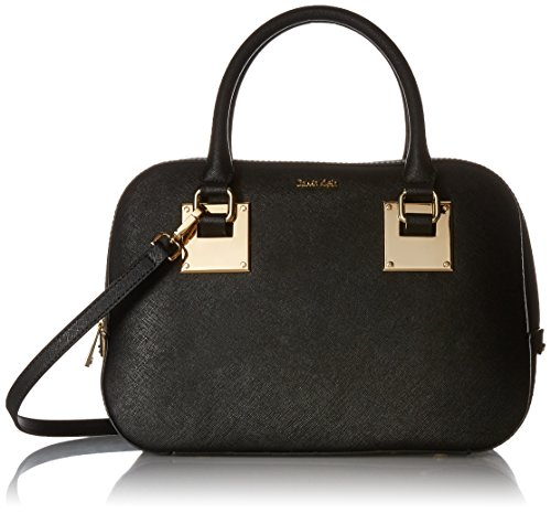 Calvin Klein Small Saffiano Satchel Bag Black/gold One Size H6ad14sy