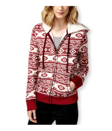 Almost Famous Womens Faux-Sherpa Printed Zip-Front Hoodie Red M (Front Printed Zip)