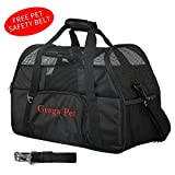 Portable Foldable Comfortable Safe Soft Sided Pet Carrier,Geega Washable Sturdy Puppy Dog Cat Carrier Travel Tote Bag Crate with Shoulder Seatbelt Luggage Strap and Leash Clip for Airline Car SUV
