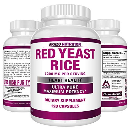 Red Yeast Rice Extract 1200 mg - Citrinin Free Supplement - Vegetarian 120 Capsules - Arazo Nutrition reviews