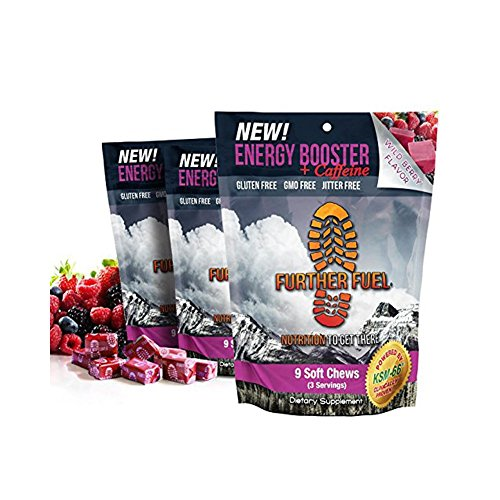 FURTHER FUEL - Energy Booster + Caffeine Soft Chews, KSM-66 Ashwagandha, B12 and L-Tyrosine - No jitters, no crash, low sugar formula with clinically proven ingredients and natural caffeine (3-pack) by Further Fuel