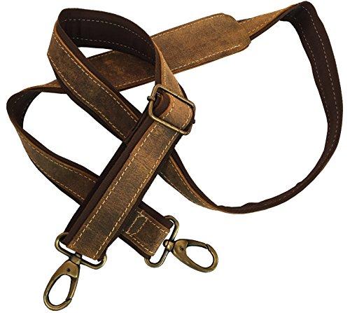 Leather Adjustable Padded Shoulder Strap with Metal Swivel Hooks for Messenger, Laptop, Camera, Duffel Bags & More