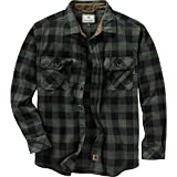 Legendary Whitetails Mens Navigator Fleece Button Down Shirt, Night Forest Plaid Green, X-Large