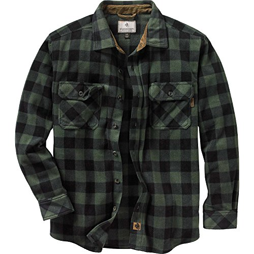 (Legendary Whitetails Men's Navigator Fleece Button Up Forest Green X-Large )