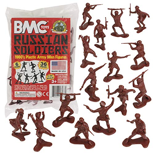 BMC Classic Marx Russian Plastic Army Men - 36pc WW2 Soldier Figures Made in USA from BMC Toys