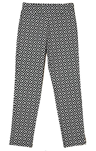 Krazy Larry Women's Geometric Print Pull On Ankle Pants (12, Black/White Geometric) by Krazy Larry