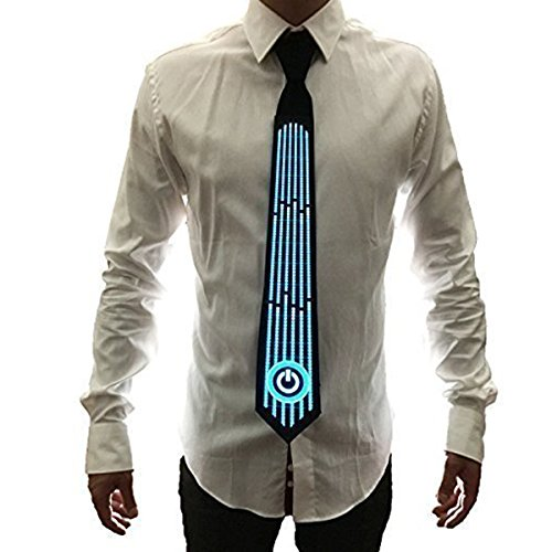 Light Up Tie for Men - Led Costume Sound Activated Glow Tie Novelty Neckties Party Favors Supplies for Birthday Halloween Christmas Festivals Rave