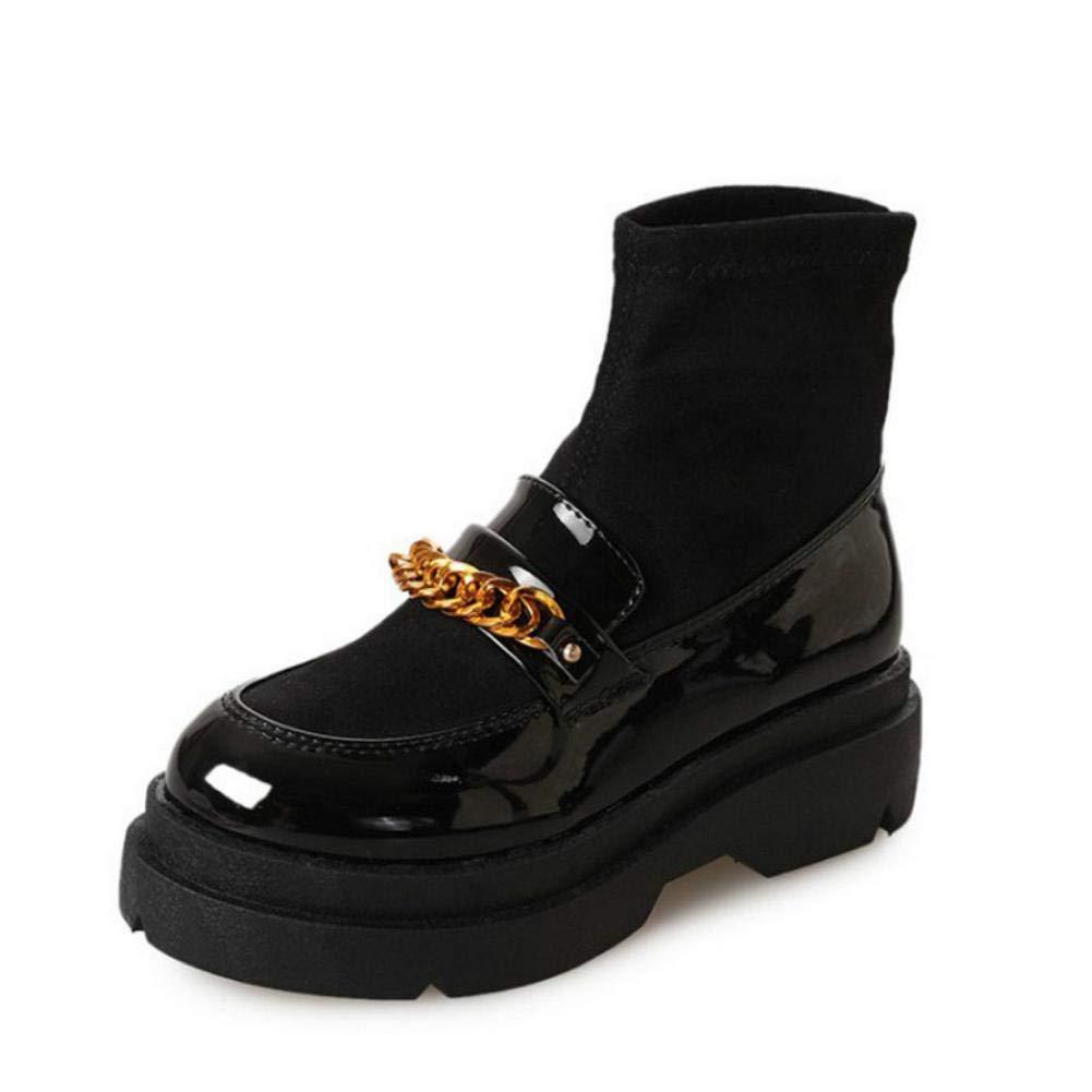 NVXUEZIX Damen Schuhe Lackleder Winter Springerstiefel Stiefel Runde Zehe Mittelhohe Stiefel Für Normal Schwarz
