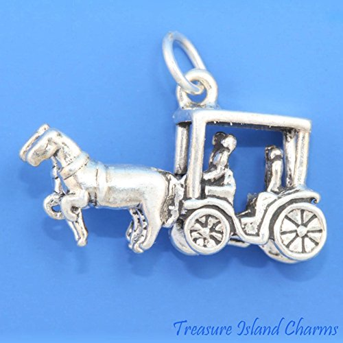 Surrey Horse Drawn Carriage with People Wagon 3D 925 Solid Sterling Silver Charm Ideal Gifts, Pendant, Charms, DIY Crafting, Gift Set from Heart by Wholesale Charms