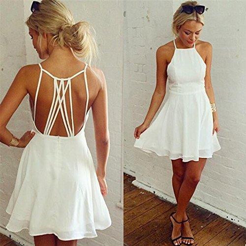 Happylife12 Women White Chiffon Strap Backless Mini Dress M