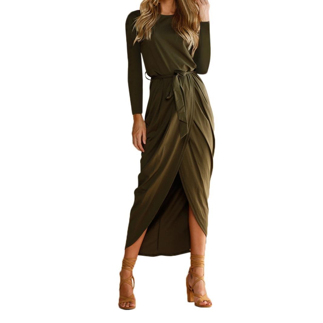 Hemlock Long Maxi Dress Women Hem Split Dress Boho Sundress Waist Tie Party Dress (S, Army Gree1)
