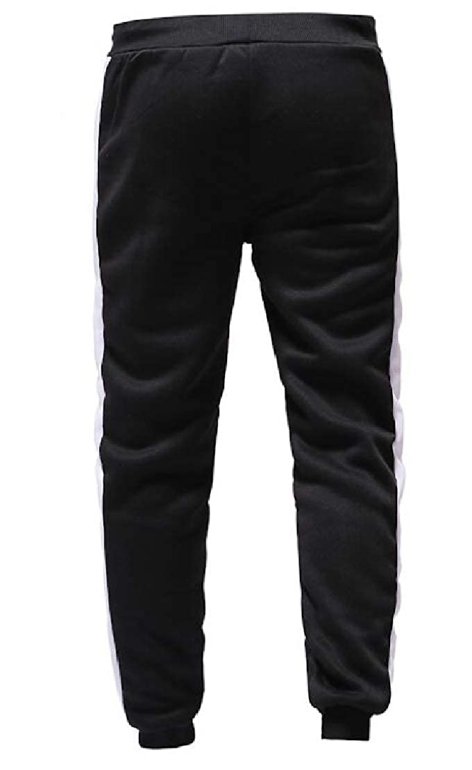 Hmarkt Mens Striped Slim Fit Patchwork Athletic Jogger Drawstring Fashion Lounge Pants with Pockets