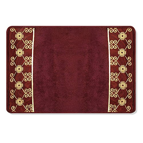 - Popular Bath Bath Rug, Vlegant Rosa Collection, Burgundy/Gold