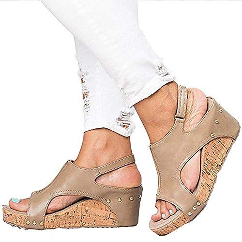 la Wedges Retro Elegant Sandales Femmes Buckle Sandales Sandales Mode Platforms Fashion Wedges Kaki Suede huateng à w4SqEvTW