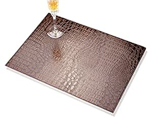 TOYM US- Set Of 2 Hotel Club fake/faux/artificial leather PU Placemat Heat Insulation Mat Waterproof Table Mat Crocodile Stripe Western Mat,40cm 30cm ( Color : Brown )