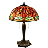 Warehouse of Tiffany Zenevieva 2-light Dragonfly Stained Glass Table Lamp - Green Red - 16