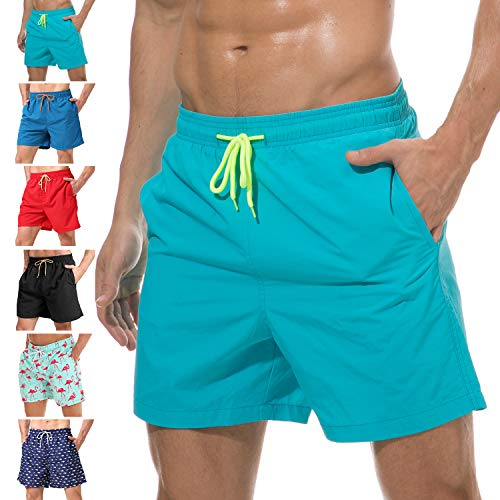 anqier Mens Swim Trunks Quick Dry Beach Shorts Mesh Lining Board Shorts Swimwear Bathing Suits with Pockets (Sky Blue, US M (Fits Waist 32.5
