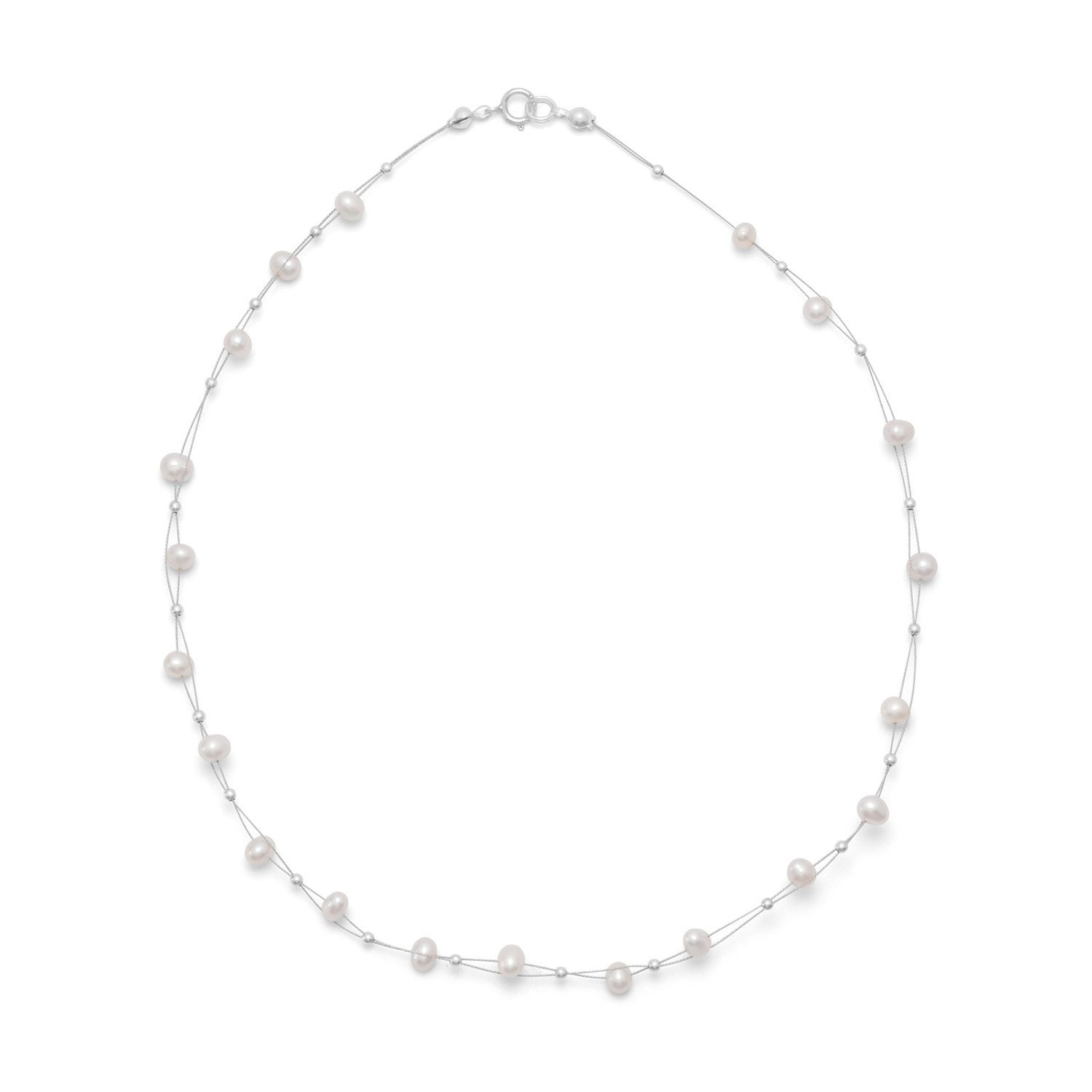 Sterling Silver 16 Inch Double Strand Intertwined Cultured Freshwater Pearl Necklace