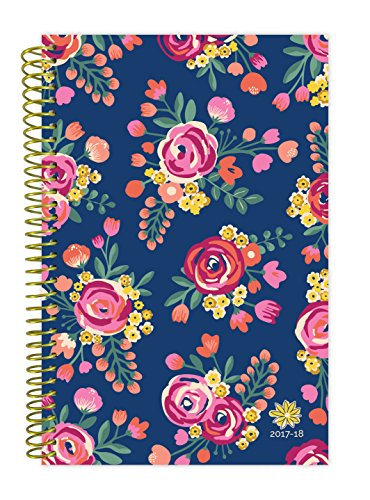 "bloom daily planners 2017-18 Academic Year Daily Planner - Passion/Goal Organizer - Monthly and Weekly Datebook and Calendar - August 2017 - July 2018 - 6"" x 8.25"" - Vintage Floral"