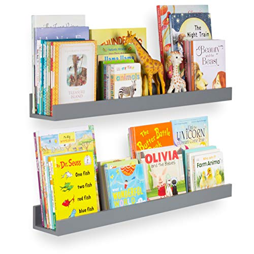 Wallniture Denver Wall Mount Kids Bookshelf, Floating Wall Shelf for Book Display, Wide 34 Inch Gray Set of 2