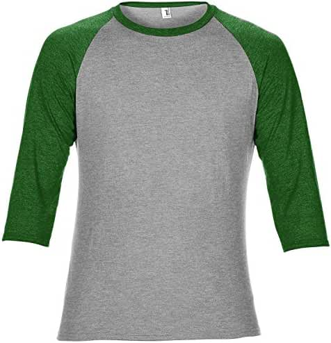 Anvil Unisex Two Tone Tri-Blend 3/4 Sleeve Raglan T-Shirt (M) (Heather Gray/Dark Green)