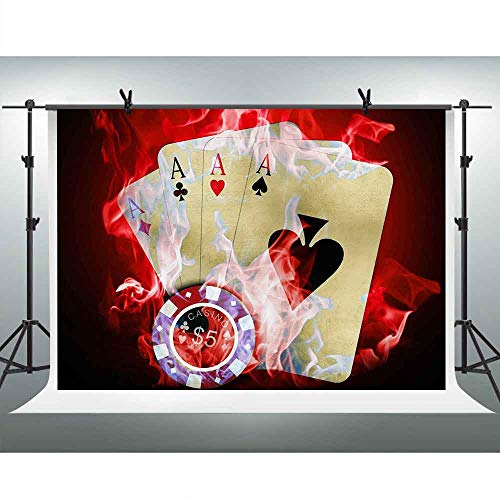 FHZON 7x5ft Poker Backdrop Casino Chip Red Mist Photography Background Party Wallpaper Photo Booth Props PFH857
