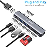 "VANMASS USB C Hub Adapter, Thunderbolt 3 (40Gbs) Dual Type-C Hub for MacBook Pro 2018 2017 2016 13"" 15"", 7 Port Hub with 4K HDMI, 100W Power Delivery, USB-C Data, 2 USB 3.0 Port, SD/Micro Card Reader"